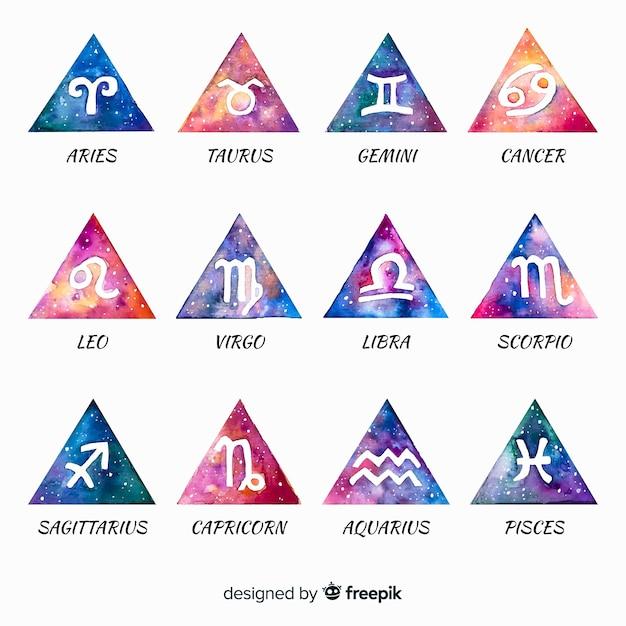Collection de signes du zodiaque aquarelle Vecteur gratuit