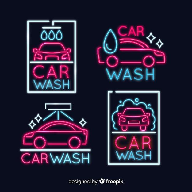 Collection de signes de lavage de voiture au néon Vecteur gratuit