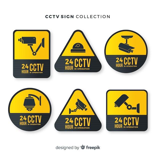 Collection De Signes De Vidéosurveillance Moderne Avec Un Design Plat Vecteur gratuit