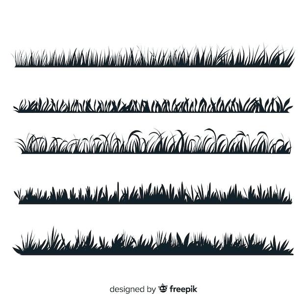 Collection de silhouette de bordure d'herbe isolée Vecteur gratuit
