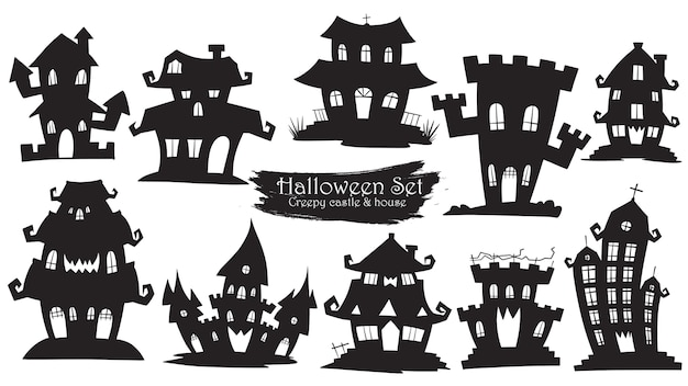 Collection de silhouette de château fantasmagorique de halloween Vecteur Premium
