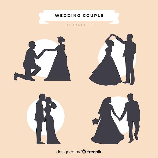 Collection de silhouette de couple de mariage Vecteur gratuit