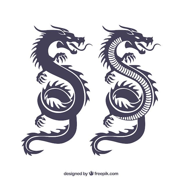 Collection De Silhouette De Dragon Chinois Traditionnel Vecteur Premium