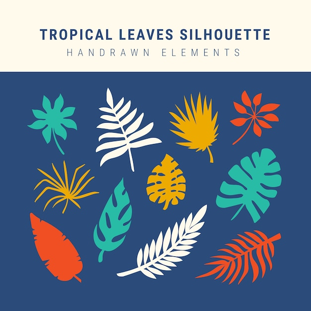 Collection silhouette de feuilles tropicales Vecteur gratuit