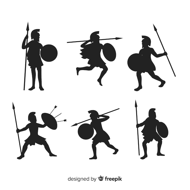 Collection de silhouette de guerrier spartiate Vecteur gratuit