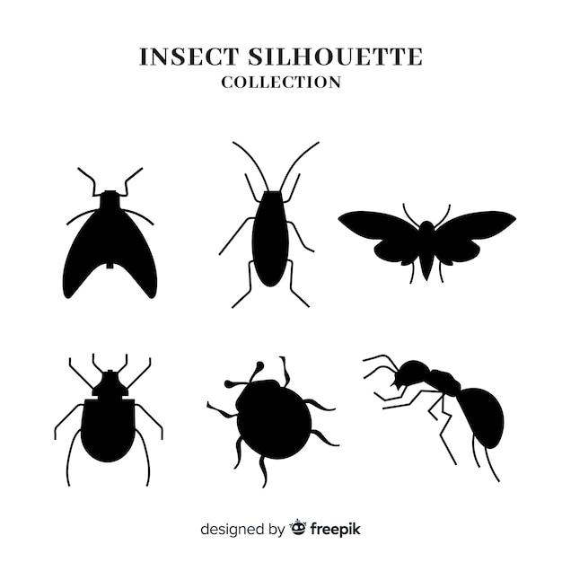 Collection de silhouette d'insecte Vecteur gratuit