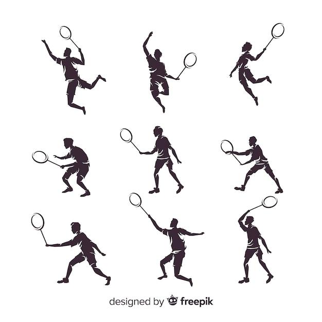 Collection de silhouette de joueur de badminton plat Vecteur gratuit