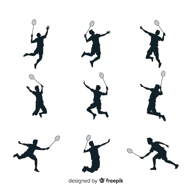 Collection de silhouette de joueur de badminton Vecteur gratuit