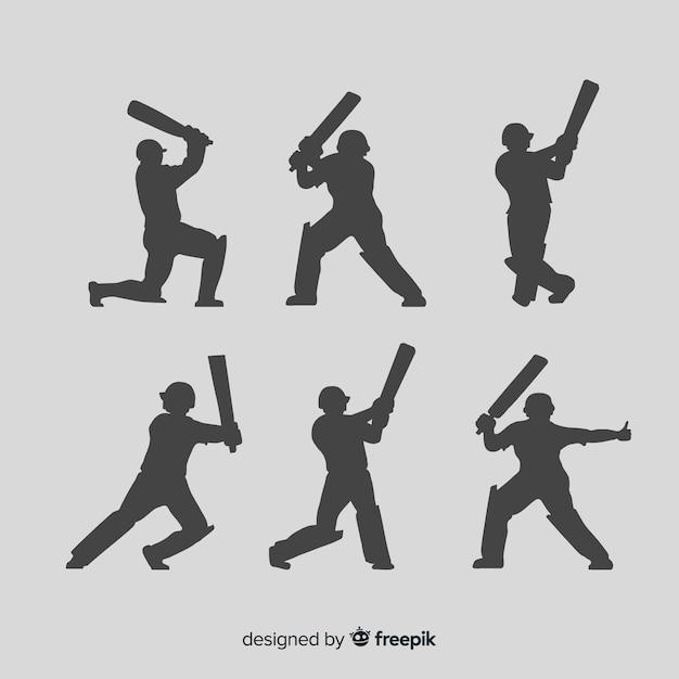 Collection de silhouette de joueur de cricket Vecteur gratuit