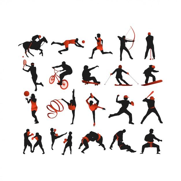Collection de silhouette de sport Vecteur Premium