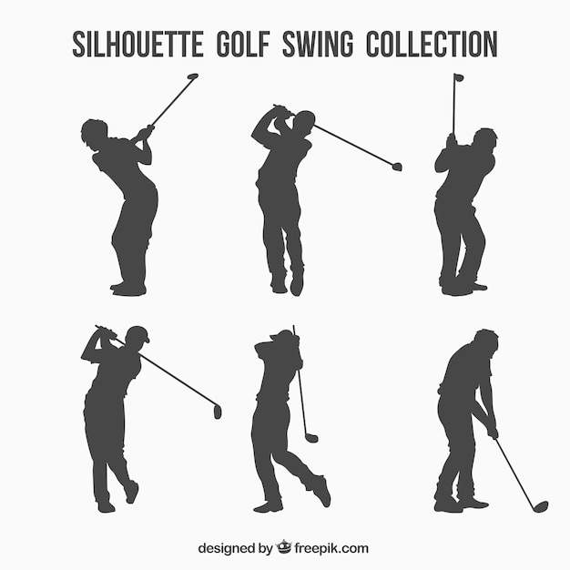 Collection de silhouette de swing de golf Vecteur gratuit
