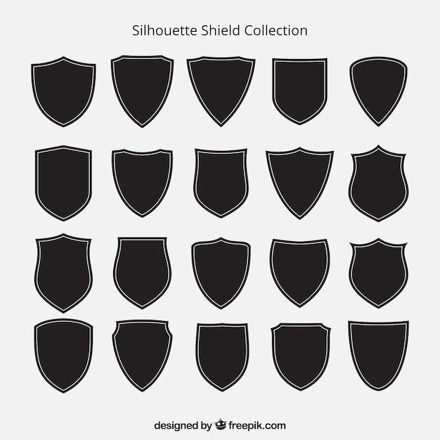 Collection de silhouettes de bouclier Vecteur gratuit