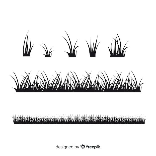 Collection de silhouettes de frontière d'herbe noire Vecteur gratuit