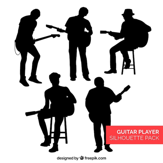 Collection de silhouettes de guitaristes Vecteur gratuit