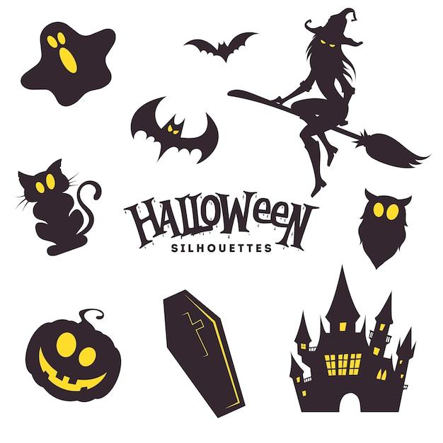 Collection De Silhouettes D'halloween Noires Mignonnes Vecteur Premium