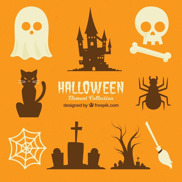 Collection de silhouettes de halloween Vecteur gratuit