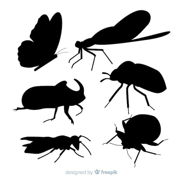 Collection De Silhouettes D'insectes Plats Vecteur gratuit