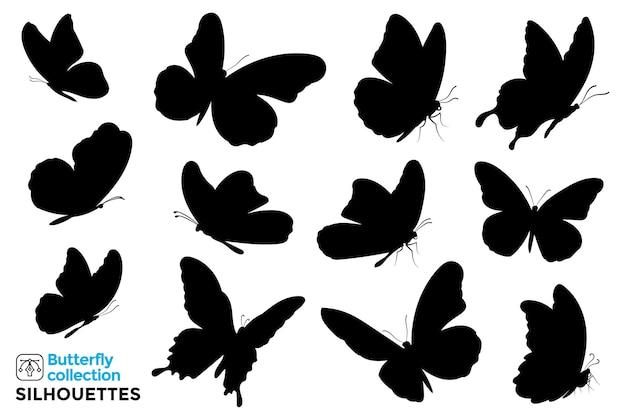 Collection De Silhouettes Isolées De Papillons. Vecteur Premium