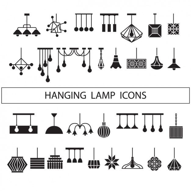 Collection Silhouettes Lampes Vecteur gratuit