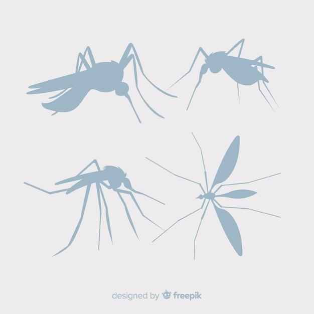 Collection De Silhouettes De Moustiques Vecteur gratuit
