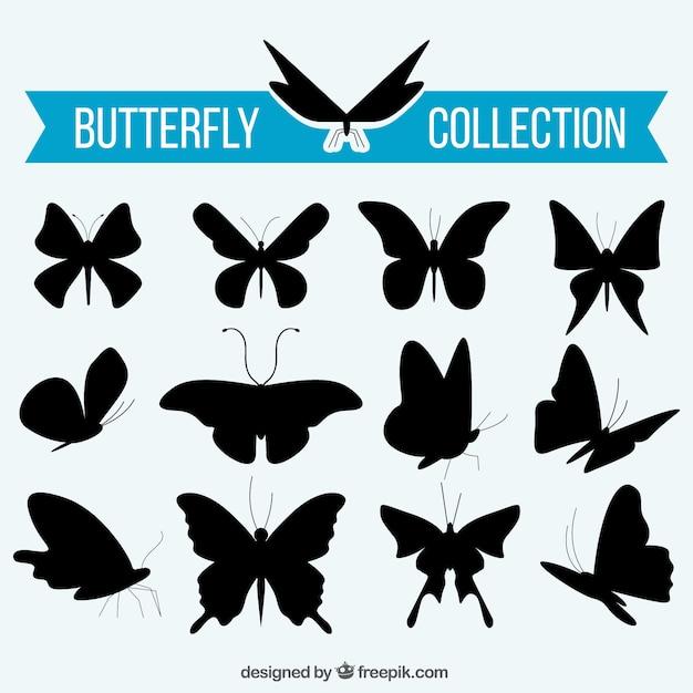 Collection des silhouettes de papillons Vecteur gratuit
