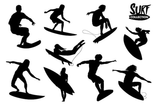 Collection De Silhouettes De Surfeurs Isolés. Ressources Graphiques. Vecteur Premium
