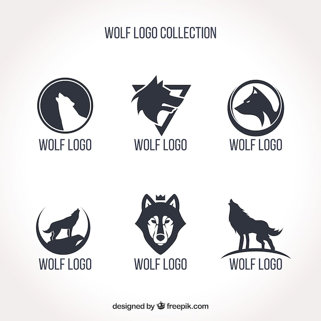 Collection simple de logo de loup Vecteur gratuit
