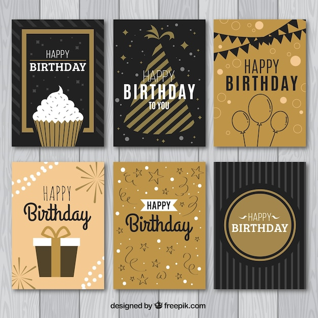 Collection De Six Cartes D'anniversaire Vintage Vecteur gratuit