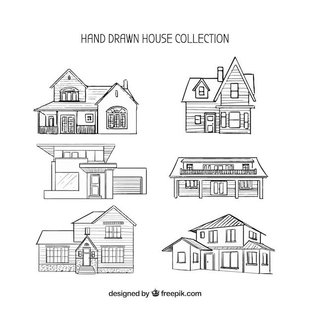 Collection De Six Maisons Dessinées à La Main Vecteur gratuit