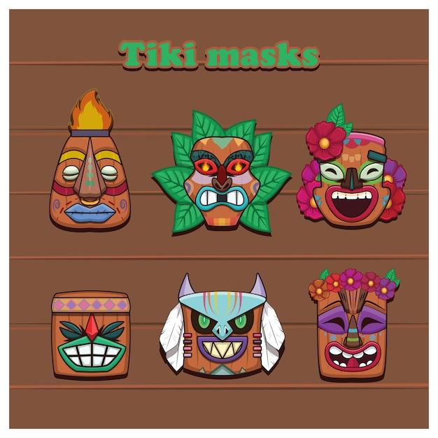 Collection de six masques tiki colorés Vecteur Premium