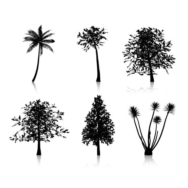 Collection de six silhouettes d'arbres différents Vecteur gratuit