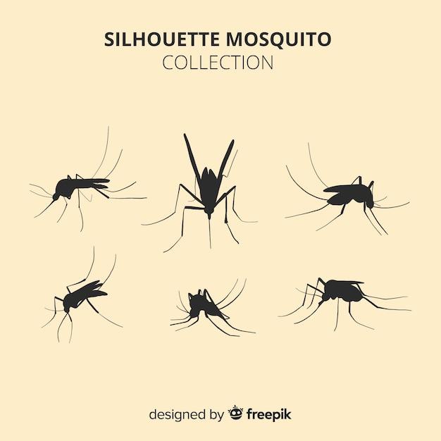 Collection De Six Silhouettes De Moustiques Vecteur gratuit