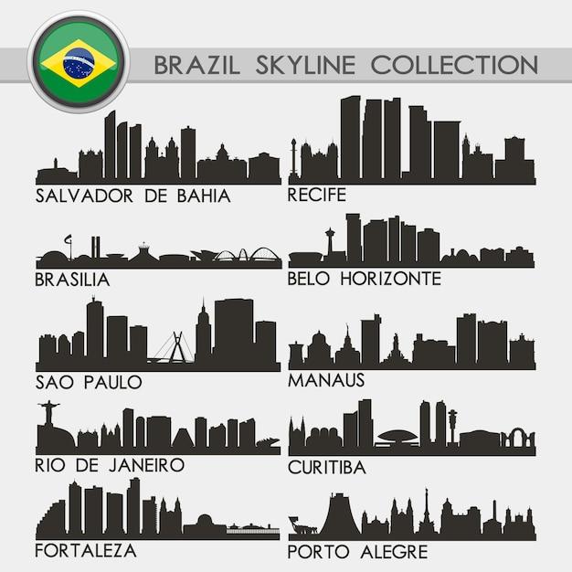 Collection skyline city du brésil Vecteur Premium