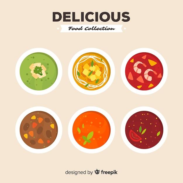 Collection de soupe délicieux Vecteur gratuit