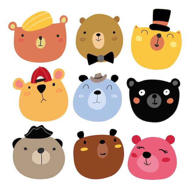 Collection Souriante D'ours Vecteur gratuit
