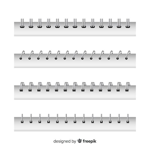 Collection de spirales réalistes pour ordinateur portable Vecteur gratuit