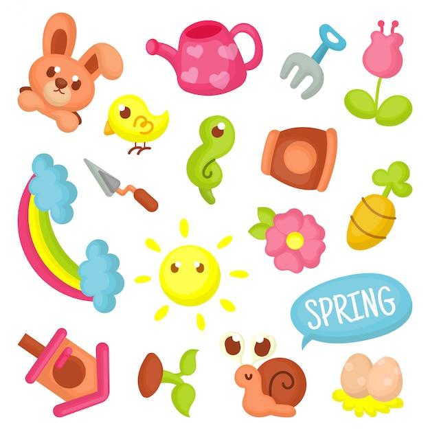 Collection spring element Vecteur Premium