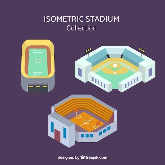 Collection de stades dans le style isométrique Vecteur gratuit