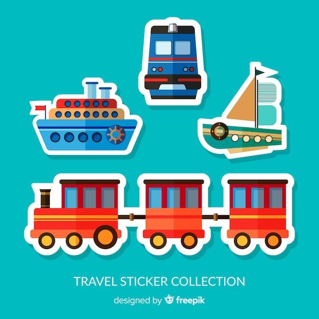Collection de sticker transports Vecteur gratuit