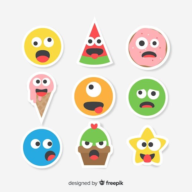 Collection de stickers amusants Vecteur gratuit