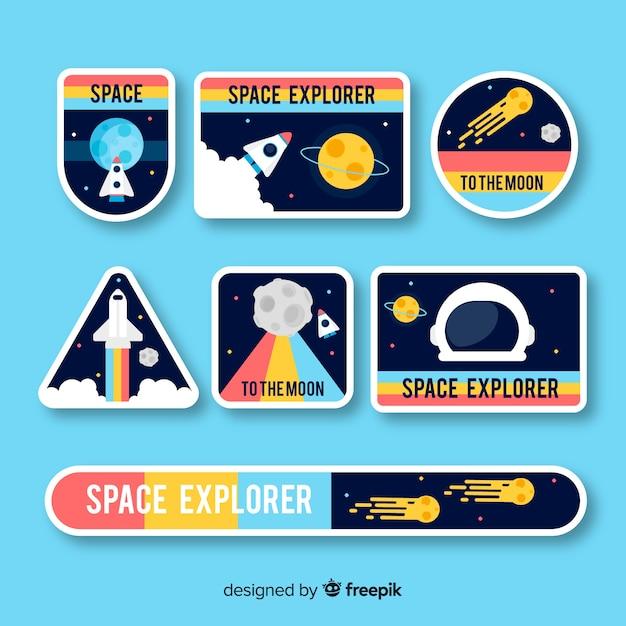 Collection de stickers colorés space Vecteur gratuit