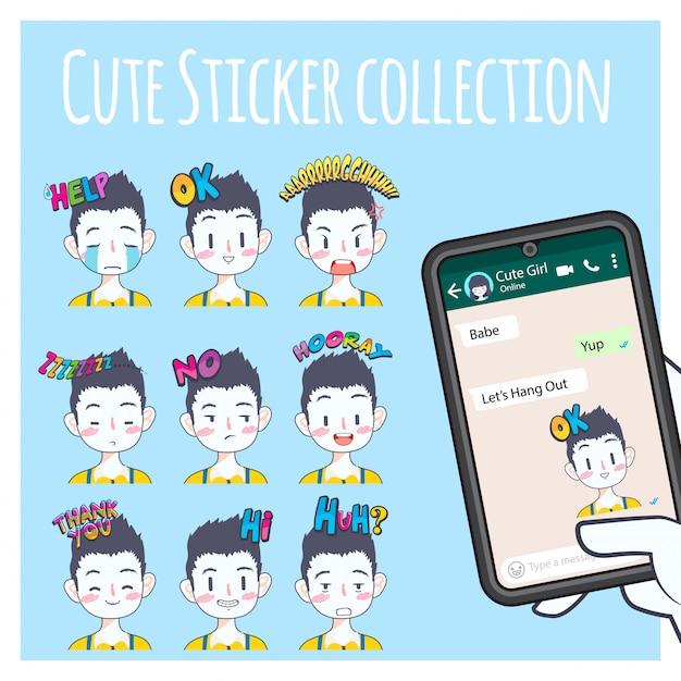 Collection de stickers emoji garçon mignon Vecteur Premium