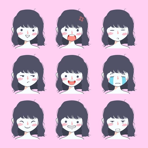 Collection de stickers emoji de jolie fille Vecteur Premium
