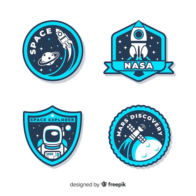 Collection de stickers de l'espace avec différentes formes Vecteur gratuit
