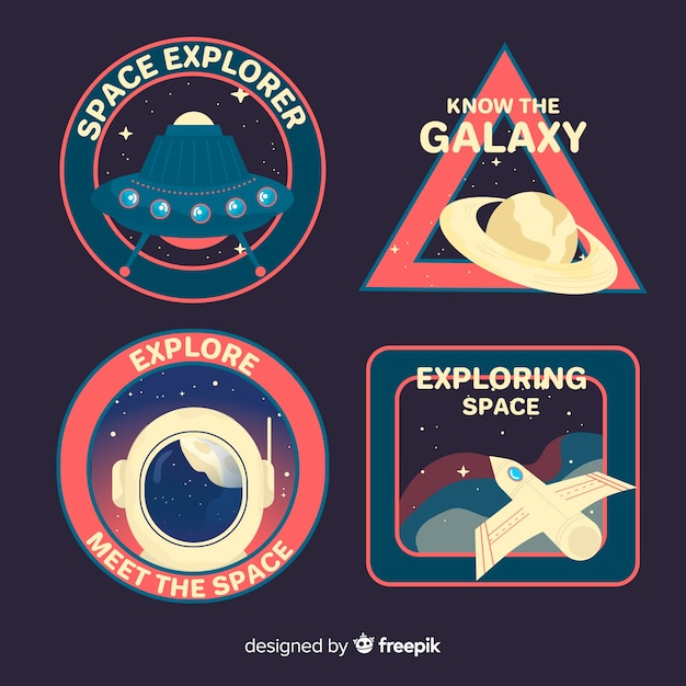 Collection de stickers espace rétro Vecteur gratuit