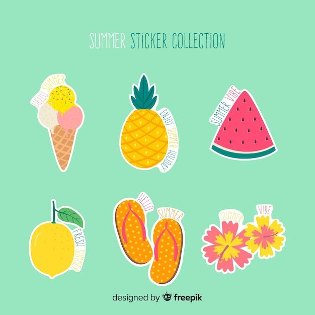 Collection de stickers été dessinés à la main Vecteur gratuit