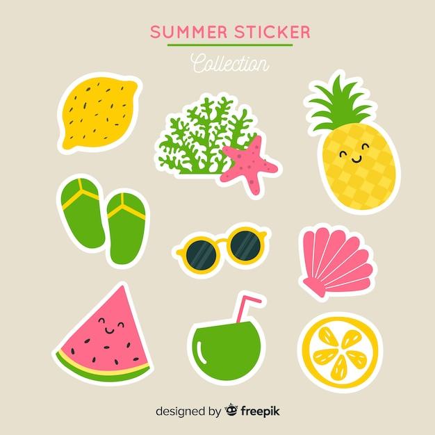 Collection de stickers été Vecteur gratuit