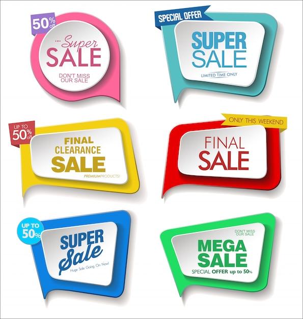 Collection de stickers, étiquettes badges modernes Vecteur Premium