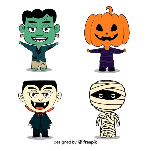 Collection de stickers halloween Vecteur gratuit