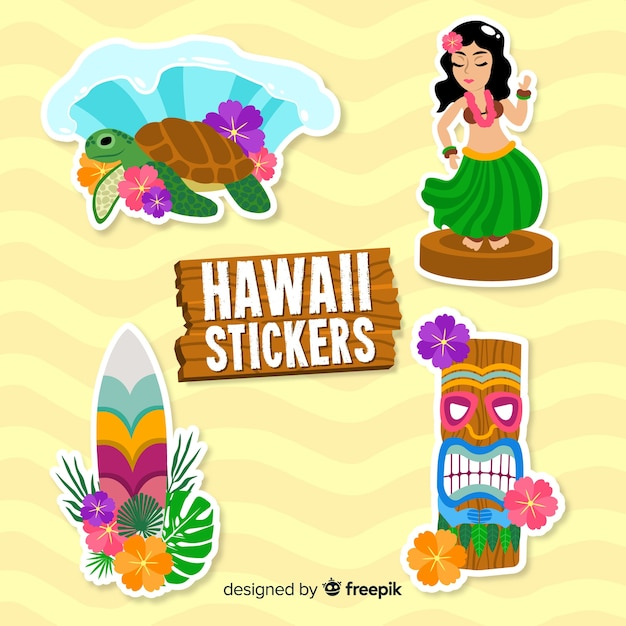 Collection De Stickers Hawaii Vecteur gratuit